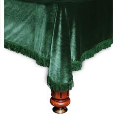 Покрывало Милано бархат с бахромой зеленой